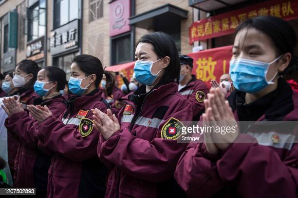 The medical staff of Guizhou branch of China national emergency medical team depart their hotel on march 17, 2020 in Wuhan.Hubei Province,China. The...
