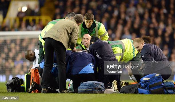 The medical team performing CPR on Fabrice Muamba of Bolton after he collapsed on the pitch suffering a heart attack during the FA Cup 6th round...