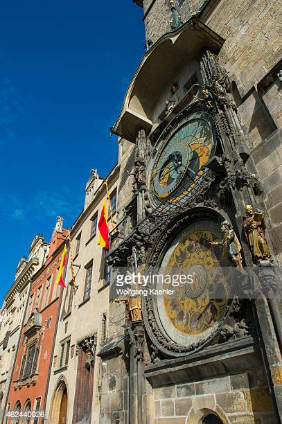 The medieval astronomical clock adorns the southern wall of the Old Town City Hall in the Old Town Square of Prague Czech Republic It announces every...