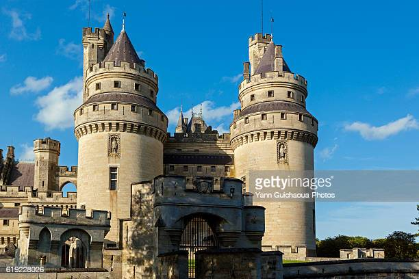 the medieval castle at pierrefonds, forest of compiegne, oise,picardy,france - oise stock photos and pictures