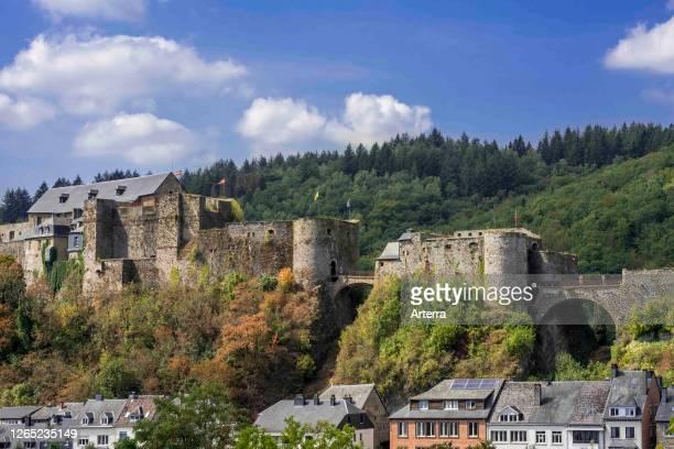 The medieval Chateau de Bouillon Castle in the city Bouillon, Luxembourg Province, Belgian Ardennes, Belgium.