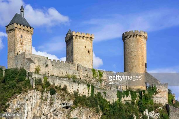 The medieval Chateau de Foix castle overlooking the town Foix, Ariege, Occitanie, France.