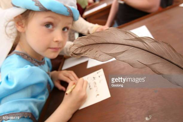 The medieval festival of Provins Calligraphy workshop