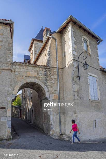 The medieval town gate Porte Cabirole in the village Saint-Bertrand-de-Comminges, Haute-Garonne, Pyrenees, France.