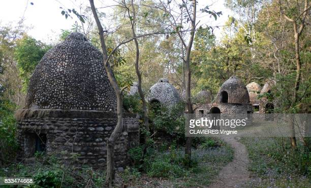 The meditation cellars in the ashram where the Beatles stayed in 1968 on march 272017 in Rishikesh India