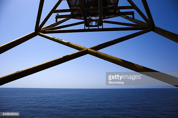 The Mediterranean Sea stretches out beyond a structure on the Casablanca oil platform operated by Repsol SA off the coast of Tarragona Spain on...
