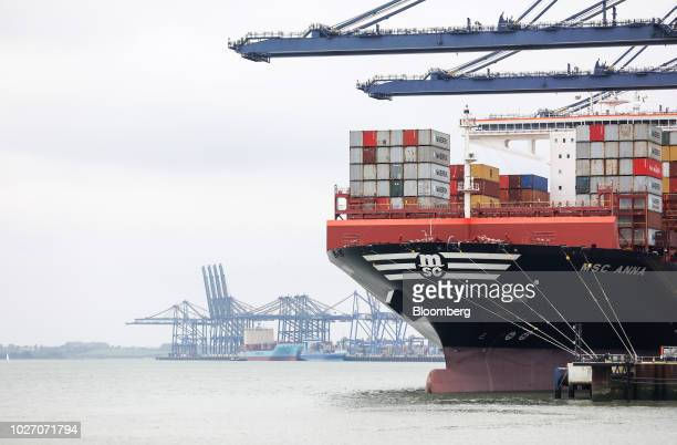 The Mediterranean Shipping Co Anna container ship stands on the dockside at the Port of Felixstowe Ltd a subsidiary of CK Hutchison Holdings Ltd in...