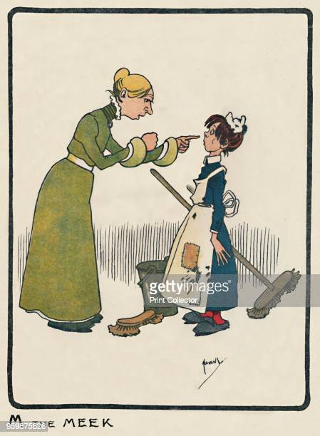 'M the Meek' 1903 An initial letter 'M' from a child alphabet From An ABC of Everyday People by G E Farrow [Dean Son Limited London 1903] Artist John...