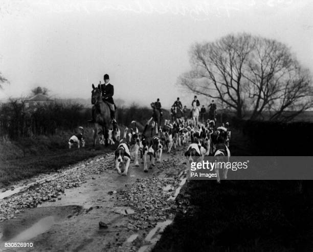 The Meet of the Earl of Fitzwilliam's pack at Bilby The picture shows the arrival of the hounds