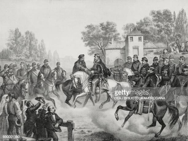 The meeting between Giuseppe Garibaldi and Vittorio Emanuele II on the bridge of Caianello October 26 Italy Risorgimento lithograph by Doyen from a...