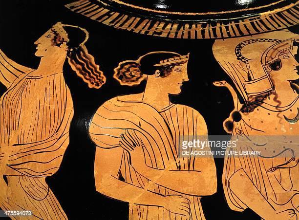 The meeting between Odysseus and Nausicaa amphora by the Nausicaa Painter redfigure ceramic Detail Greek civilisation 5th century BC Monaco...