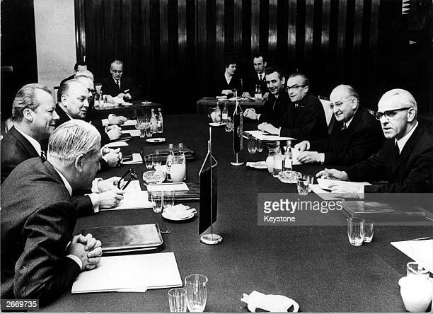 The meeting in Erfurt, central Germany, of West German Chancellor Willy Brandt and East German Prime Minister Willi Stoph, in an attempt to improve...