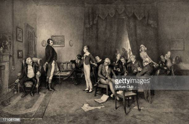 The Meeting of Burns and Scott in Sciennes House Edinburgh the home of Adam Ferguson From the painting by Charles Martin Hardie 18581916 Notable...