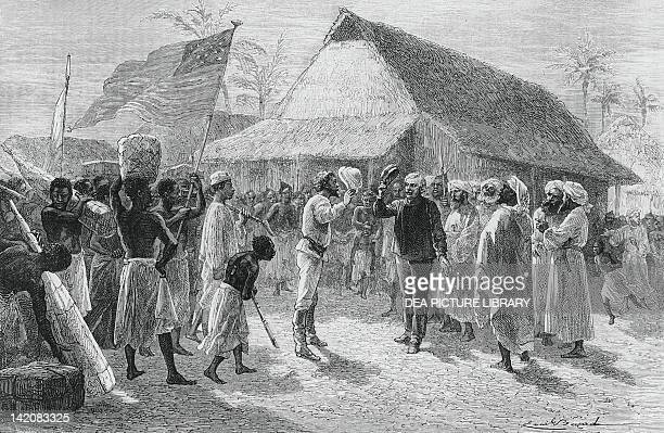 The meeting of David Livingstone and Henry Morton Stanley on Lake Tanganyika November 3 drawing by Emile Bayard 19th Century