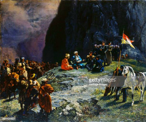 'The Meeting of General Klüke von Klügenau and Imam Shamil in 1837' 1849 Imam Shamil was a political and religious leader of the Muslim tribes of the...