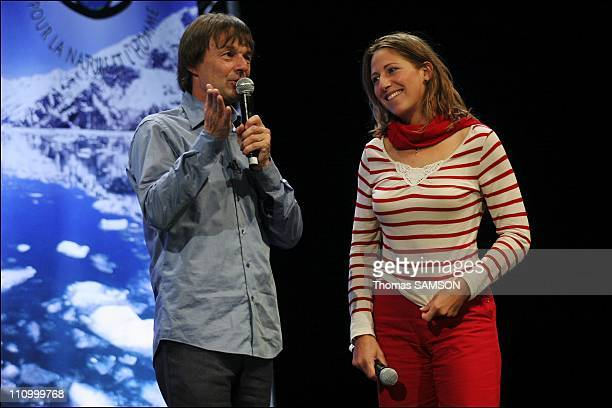 The meeting of Nicolas Hulot in Zenith in Paris France on April 1st 2007 Nicolas Hulot and the sailor Maud Fontenoy