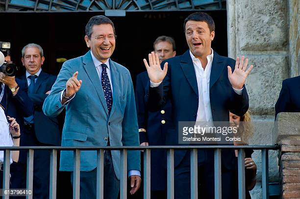 The meeting of the Ignazio Marino mayor di Rome and Matteo Renzi mayor Florence a visit to the Roman Forum and the Capitoline Museums on September 4...