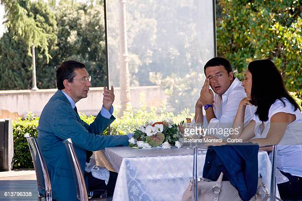 The meeting of the Ignazio Marino mayor di Rome and Matteo Renzi mayor Florence at restaurant on the terrace Cafferelli after a visit to the Roman...