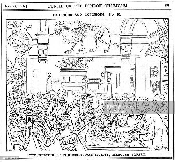 'The Meeting of the Zoological Society Hanover Square' London 1885 The naturalist Richard Owen is in the left foreground next to Mr Punch holding an...