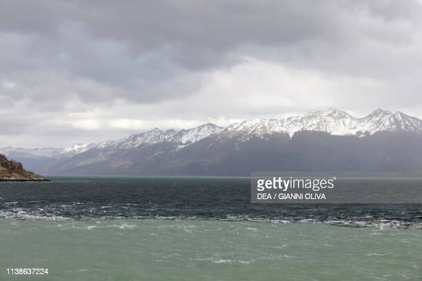 The meeting point between Atlantic and Pacific Oceans, Beagle Channel, Tierra del Fuego, Chile.