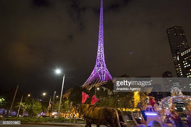 The Melbourne Arts centre spire is lit in purple in memory of late recording artist Prince, in Melbourne, Australia on April 22, 2016. Prince died on...