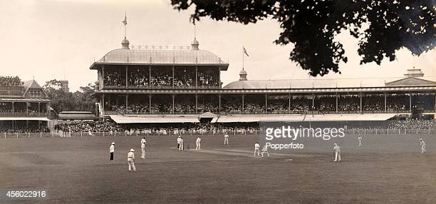 The Melbourne Cricket Ground during the 2nd Test match between Australia and England circa January 1904 The England team captained by Pelham Warner...