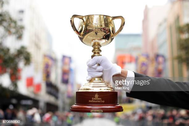 The Melbourne Cup is displayed during the 2017 Melbourne Cup Parade on November 6 2017 in Melbourne Australia