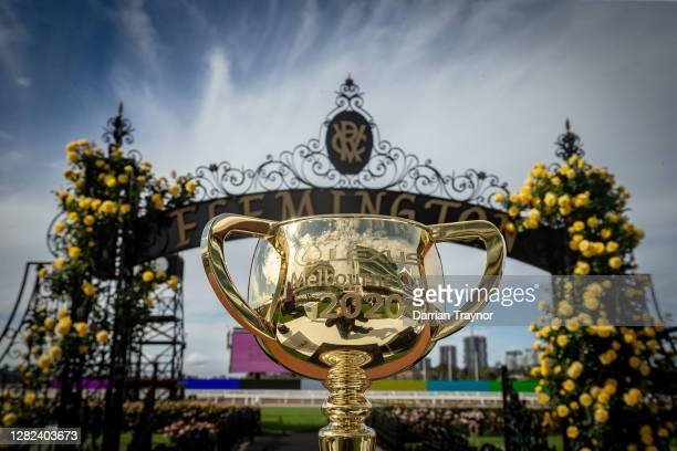The Melbourne Cup trophy is seen during the Melbourne Cup Carnival launch at Flemington Racecourse on October 27, 2020 in Melbourne, Australia.