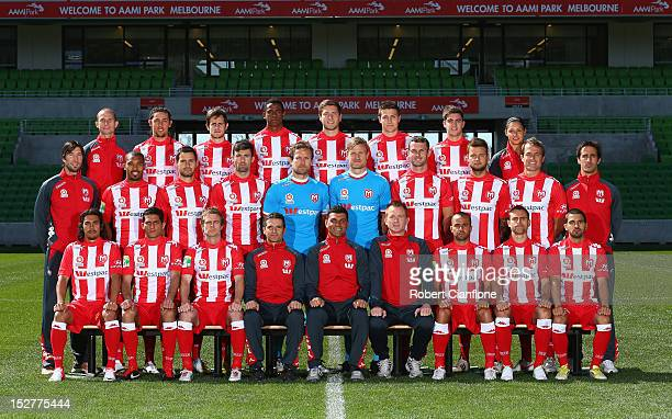 The Melbourne Heart pose for the official ALeague teamshot at AAMI Park on September 26 2012 in Melbourne Australia