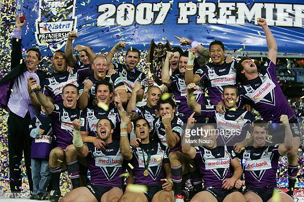 The Melbourne Storm celebrate after the NRL Grand Final match between the Melbourne Storm and the Manly Warringah Sea Eagles at Telstra Stadium...