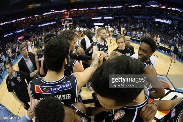 The Melbourne United huddle before the preseason game against the Oklahoma City Thunder on October 8 2017 at Chesapeake Energy Arena in Oklahoma City...