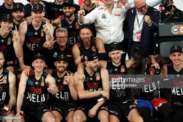 The Melbourne United team celebrate victory after game three of the NBL Grand Final Series between Melbourne United and the Perth Wildcats at John...