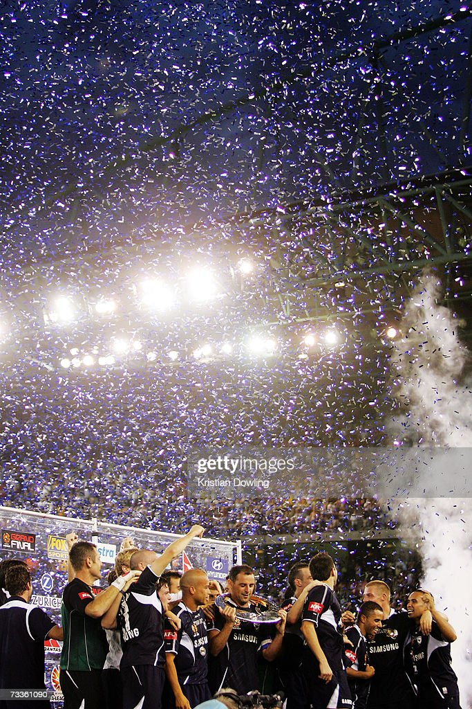 The Melbourne Victory celebrate after winning the Hyundai A-League Grand Final between the Melbourne Victory and Adelaide United at the Telstra Dome February 18, 2007 in Melbourne, Australia.