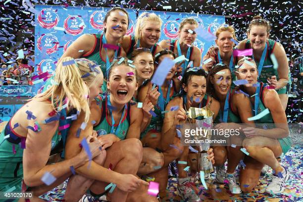 The Melbourne Vixens celebrate victory in the ANZ Championship Grand Final match between the Vixens and the Firebirds at Hisense Arena on June 22...