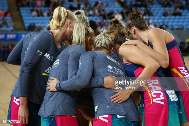 The Melbourne Vixens huddle prior to the round 10 Super Netball match between the Vixens and the Lightning at Margaret Court Arena on April 29 2017...
