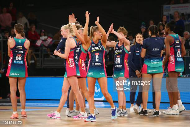 The Melbourne Vixens players are seen after the round 14 Super Netball match between the Vixens and the Lightning at Hisense Arena on August 5 2018...