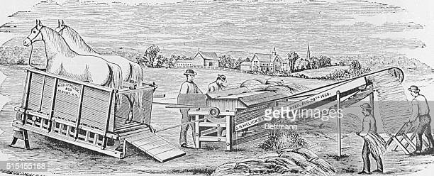 The Melick's Patent Improved Straw Preserving Rye Thresher is shown here Note the horse motor on the left