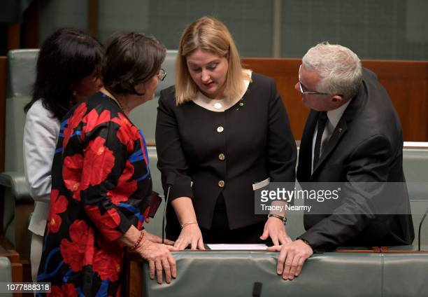 The Member for Mayo Rebekha Sharkie with fellow cross bench members Member for Chisholm Julia Banks Member for Indi Cathy McGowan and Member for...