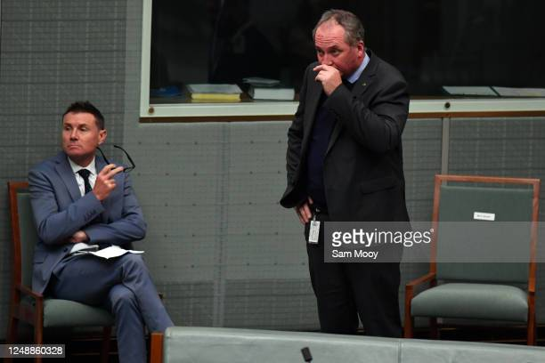 The member for New England, Barnaby Joyce seen ahead of Question Time in the House of Representatives at Parliament House on June 11, 2020 in...