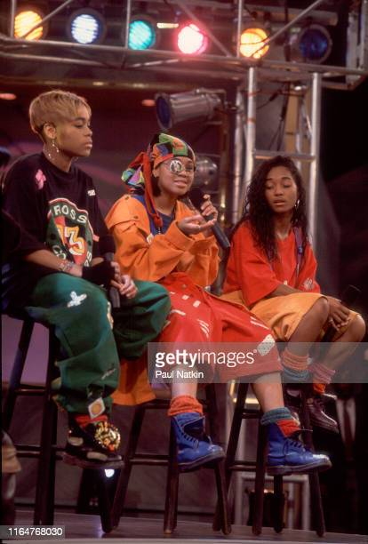 The members of American Hip Hop and R&B group TLC appear an episode of the Oprah Winfrey Show, Chicago, Illinois, November 17, 1992. Pictured are,...
