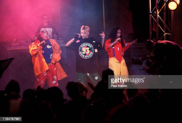 The members of American Hip Hop and R&B group TLC perform on an episode of the Oprah Winfrey Show, Chicago, Illinois, November 17, 1992. Pictured...