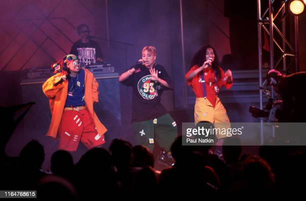 The members of American Hip Hop and RB group TLC perform on an episode of the Oprah Winfrey Show Chicago Illinois November 17 1992 Pictured are from...
