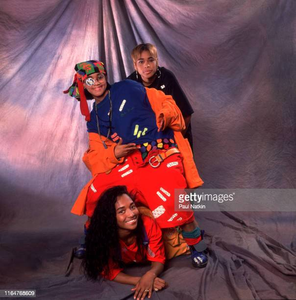 The members of American Hip Hop and R&B group TLC pose backstage during an appearance on an episode of the Oprah Winfrey Show, Chicago, Illinois,...