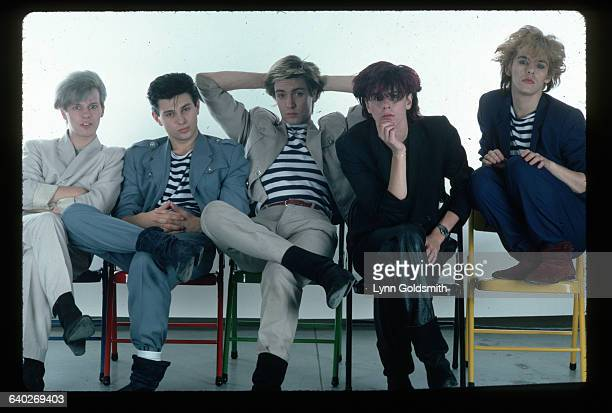 The members of Duran Duran are from left Andy Taylor Rodger Taylor Simon Le Bon John Taylor Nick Rhodes