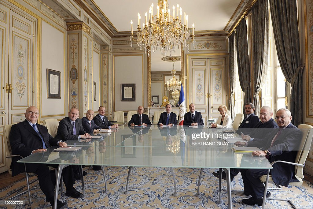 The members of French Constitutional Council (Conseil Constitutionnel) pose on May 20, 2010 at the Council in Paris. (From L) Hubert Haenel, Guy Canivet, Jean-Louis Pezant, Pierre Steinmetz, Valery Giscard d'Estaing, President Jean-Louis Debre, Jacques Chirac, Jacqueline de Guillenchmidt, Renaud Denoix de Saint Marc, Michel Charasse, and Jacques Barrot.