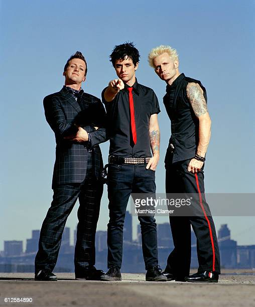 The members of Green Day are LR Tre Cool Billie Joe Armstrong and Mike Dirnt