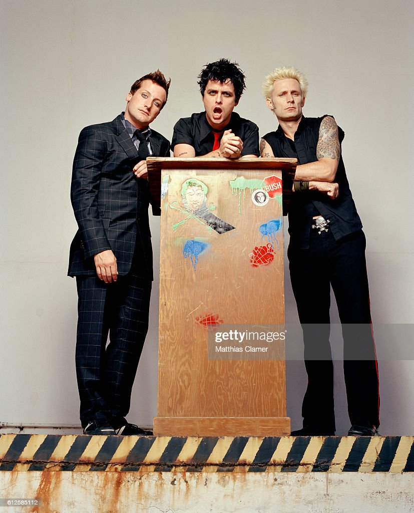 The members of Green Day are, L-R, Tre Cool, Billie Joe Armstrong, and Mike Dirnt.