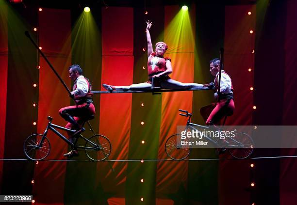 The members of Los Lopez perform a highwire act during the opening night of 'CIRCUS 1903' at Paris Las Vegas on July 25 2017 in Las Vegas Nevada