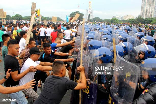 The members of Philippine National Police Civil Disturbance Management demonstrated how they are going to control the protesters during the SendOff...