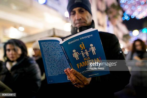 The members of Sentinelle in Piedi gather in the streets throughout Italy where they stood silently and read books The silent demonstration was held...